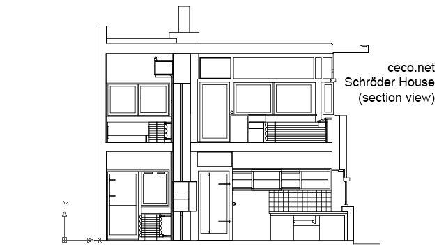 Autocad Pelan Rumah Download Bermanfaat Autocad Drawing Rietveld Schroder House Gerrit Rietveld Section Dwg