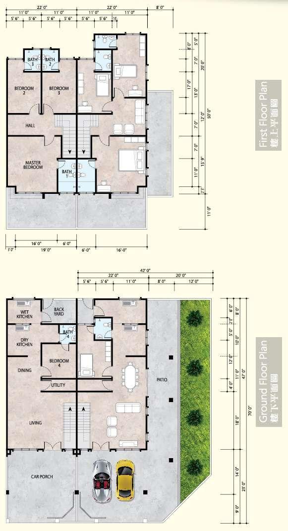 Contoh Pelan Rumah 2 Tingkat 20×70 Bermanfaat Pelan Double Storey