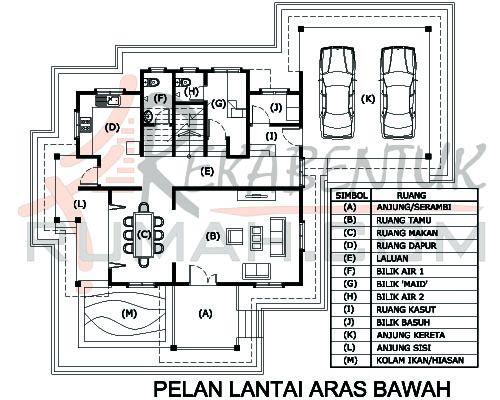 DESIGN RUMAH D2 13 6 bilik 5 bilik air 57 x49′ – 2798 kaki persegi