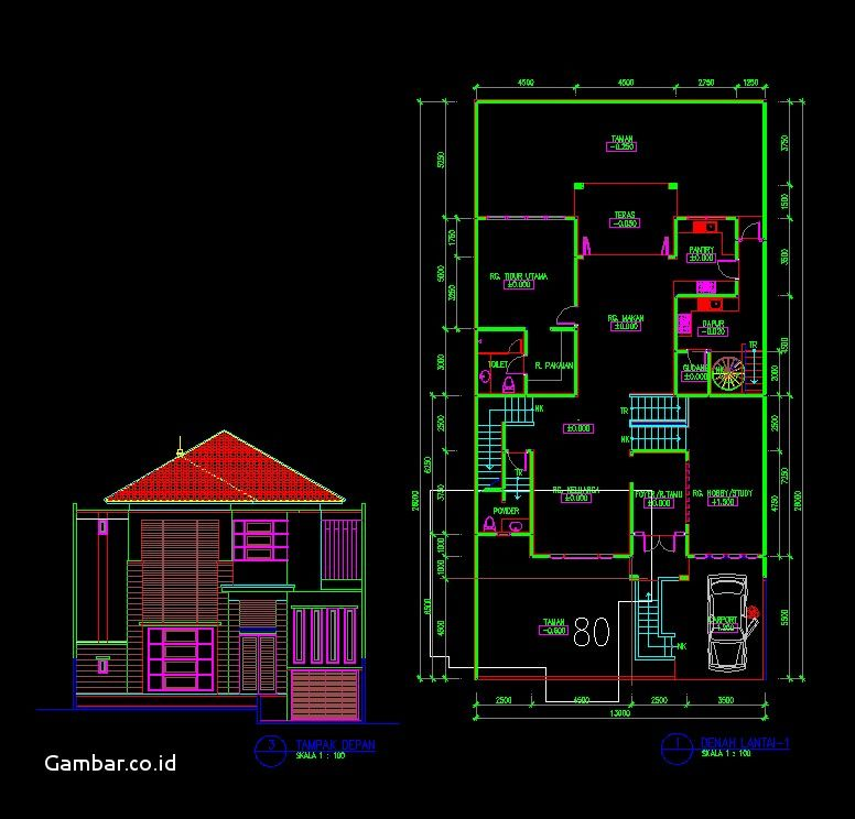 80 Koleksi Gambar Rumah 2 Lantai Lengkap Dwg HD Terbaik