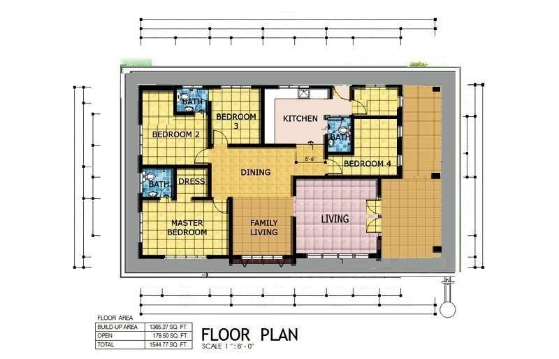 Housing And Development Membina Rumah Banglo Di Atas Tanah Sendiri Pelan Rumah D1 18 Banglo Setingkat 4 Bilik