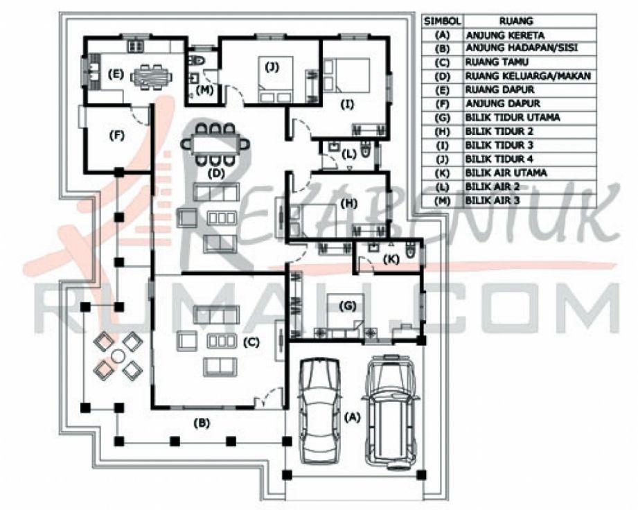 Pelan Rumah 4 Bilik Tidur 2 Bilik Air Design Rumah Terkini