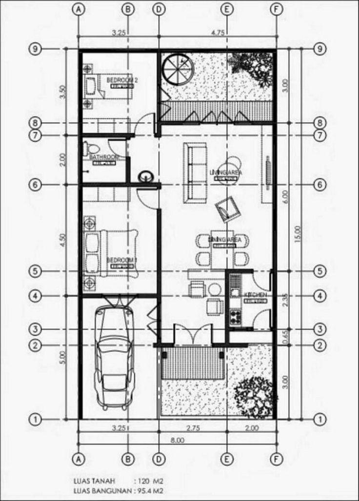 denah minimalis 8x15 1 lantai terlihat minimalis Barang untuk dibeli di 2018 Pinterest