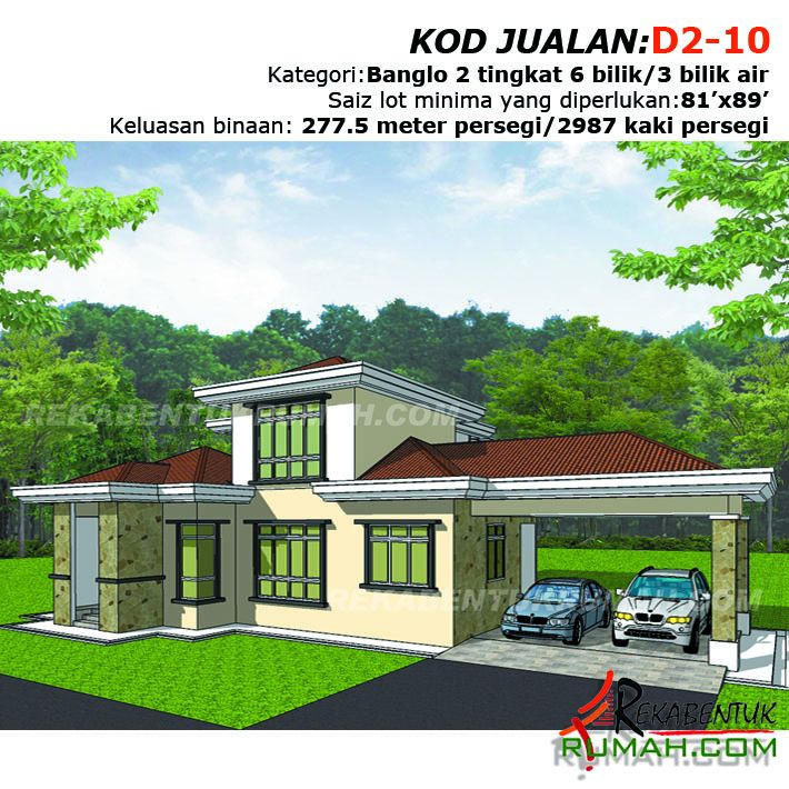 Contoh Pelan Rumah Lengkap Menarik Design Rumah D2 10 6 Bilik 3 Bilik Air 64 X59 2987 Kaki