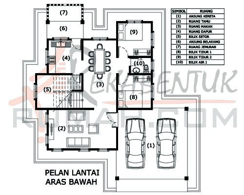 DESIGN RUMAH D2 03 6 bilik 3 bilik air 43 x44′ – 2156 kaki persegi