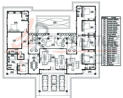 DESIGN RUMAH E1 14 6b 4ba 80 x77′ – 3857 kaki persegi
