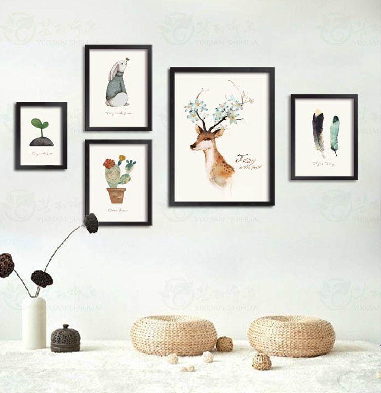 Triptych Cat Air Kanvas Lukisan Minimalis Nordic Modern Art HD Cetak Poster Kepala Rusa Stiker Dinding Ruang Tamu Rumah Dekorasi