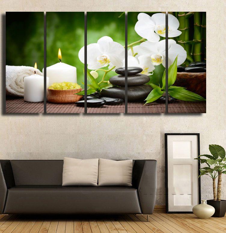 BANMU Kanvas Lukisan Dekorasi Rumah Gambar Dinding Gambar Tidak Bingkai Musim Semi Batu Bambu ImageFor Ruang Tamu Modular Gambar