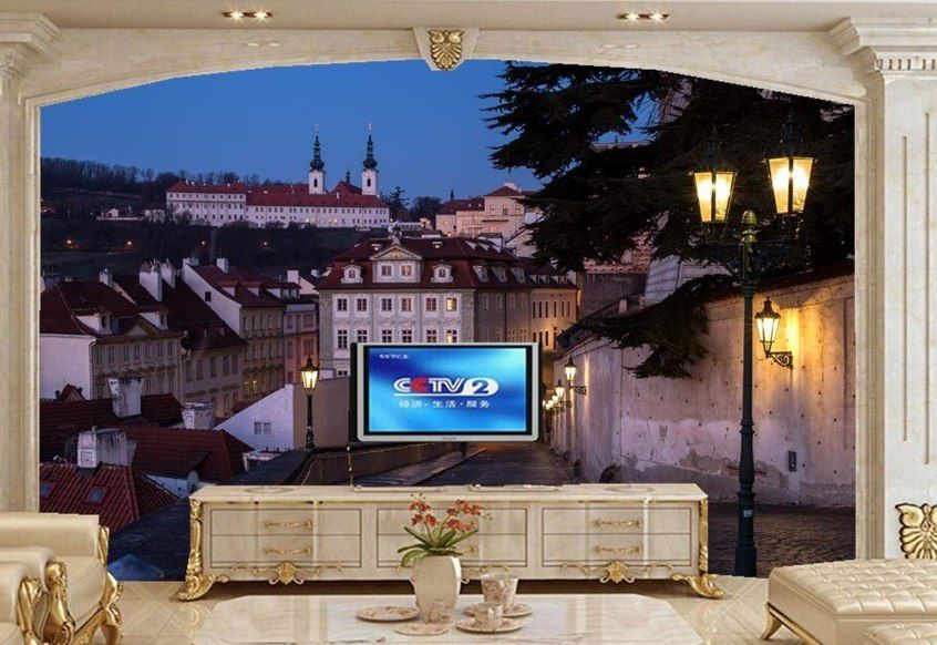 Besar 3d mural wallpaper Rumah Prague jalan malam lampu kota kota wallpaper Ruang tamu sofa tv dinding kamar tidur papel De Parede