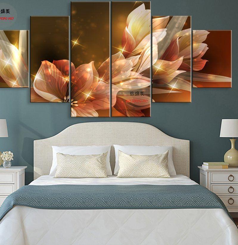 Deko Halaman Rumah Simple Penting 웃 유6 Piece Bunga Moderen Kanvas Gambar Hd Cetak Modular Lukisan