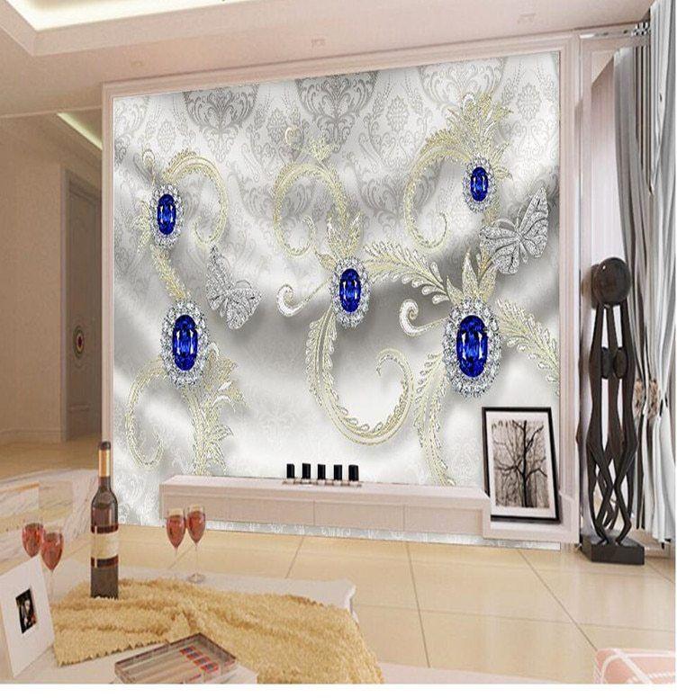 Deko Ruang Dapur Rumah Flat Hebat ⊱panel Dinding Wallpaper Garis Biru Berlian Perhiasan Latar