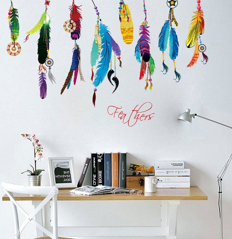 Deko Ruang Tamu Rumah Kayu Baik ᗜ Ljഃkreatif Dekorasi 3d Stiker Dinding Warna Warni Pola Bulu