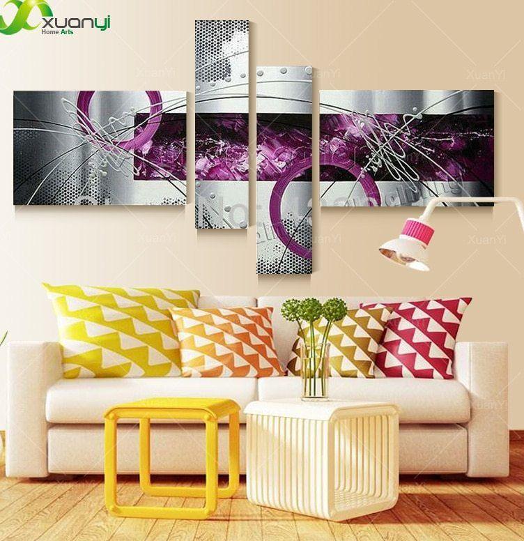 4 Panel kanvas Seni gambar modern Abstrak lukisan minyak pada kanvas Gambar dinding untuk ruang tamu dekorasi No Frame