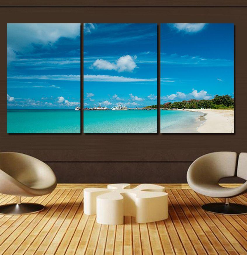 Deko Rumah Biru Terhebat ✓3 Pcs Ada Frame Biru Laut Langit Lukisan Kanvas Lukisan Dinding