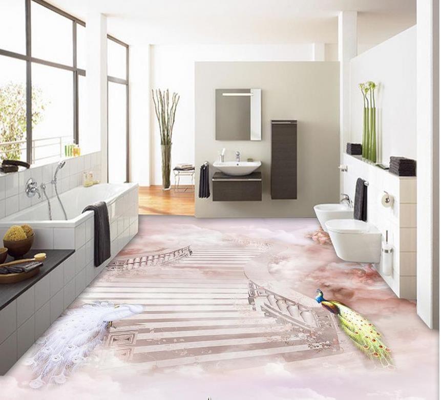 3d wallpaper pvc Peacock Wonderland 3D lantai wallpaper untuk kamar mandi tahan air Dekorasi Rumah