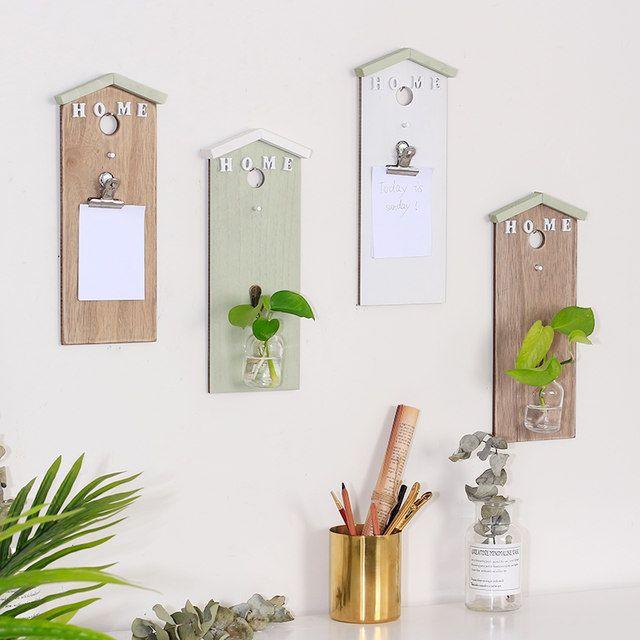 Kreatif kayu hiasan dinding kaca transparan botol hidroponik dinding dekorasi dinding dekorasi catatan papan hijau