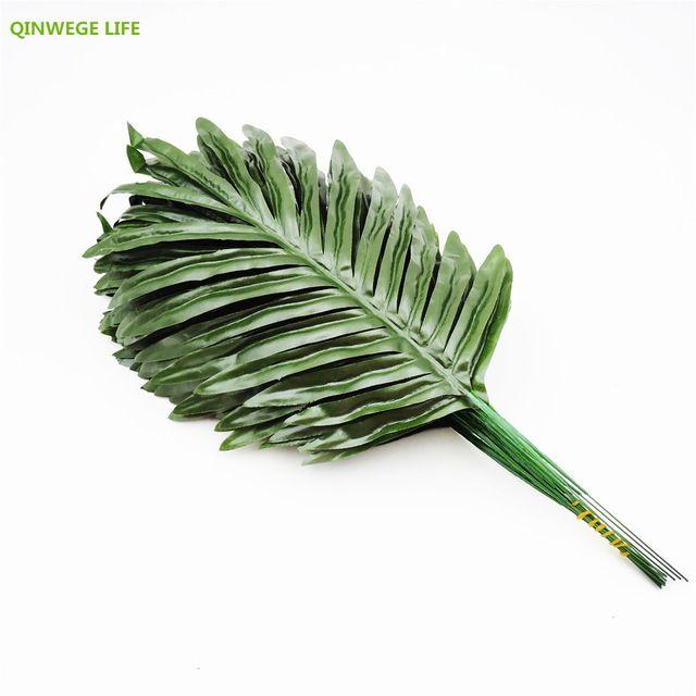 Baru 39 CM 20 Pcs Kain Palm Tanaman Buatan Cabang Daun Palsu Hiasan Dekorasi Rumah Pernikahan