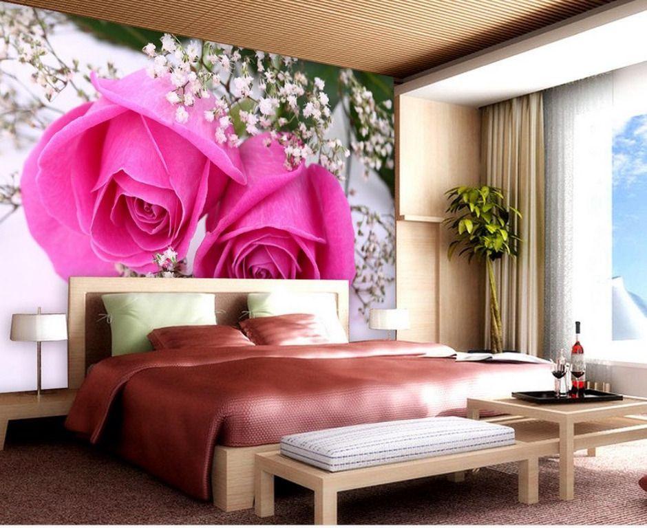 Deko Rumah Hitam Putih Berguna Dekorasi Pink Rose Mural 3d Wallpaper 3d Kertas Dinding Untuk
