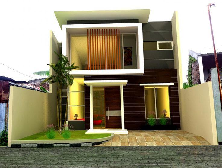 dua lantai a kontemporer keren minimalis fasad desain
