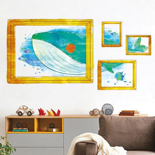 Deko Rumah Kg Berguna 3d Palsu Gambar Ikan Paus Dasar Laut Dinding Seni Stiker Untuk Anak