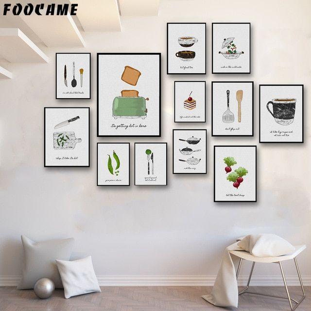 Mesin Roti Kue Sayuran FOOCAME Kopi Pot Pecah Poster dan Cetakan Seni Kanvas Lukisan Dekorasi Rumah