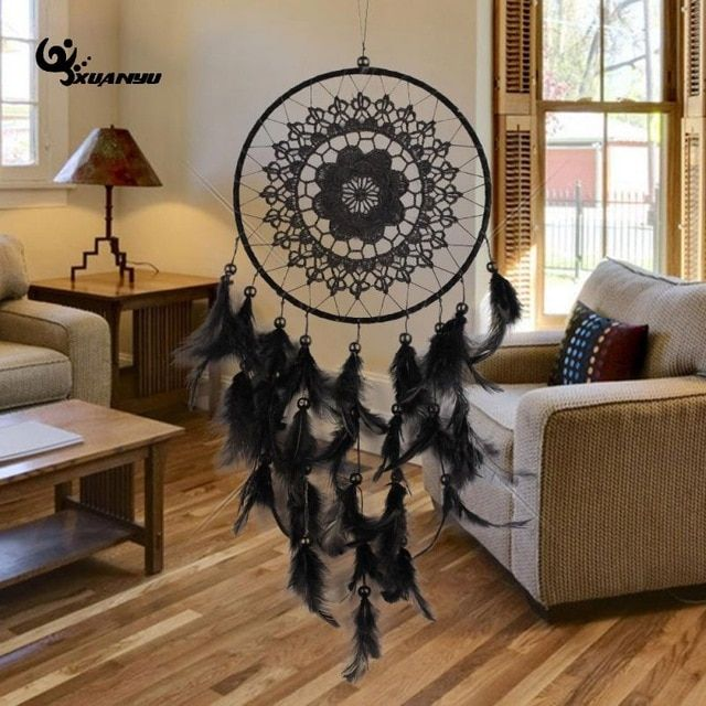 Big Natural Bulu Hitam Warna Renda Dreamcatcher Angin Bunyi Genta Lonceng Hiasan Gantung Dream Penangkap Rumah