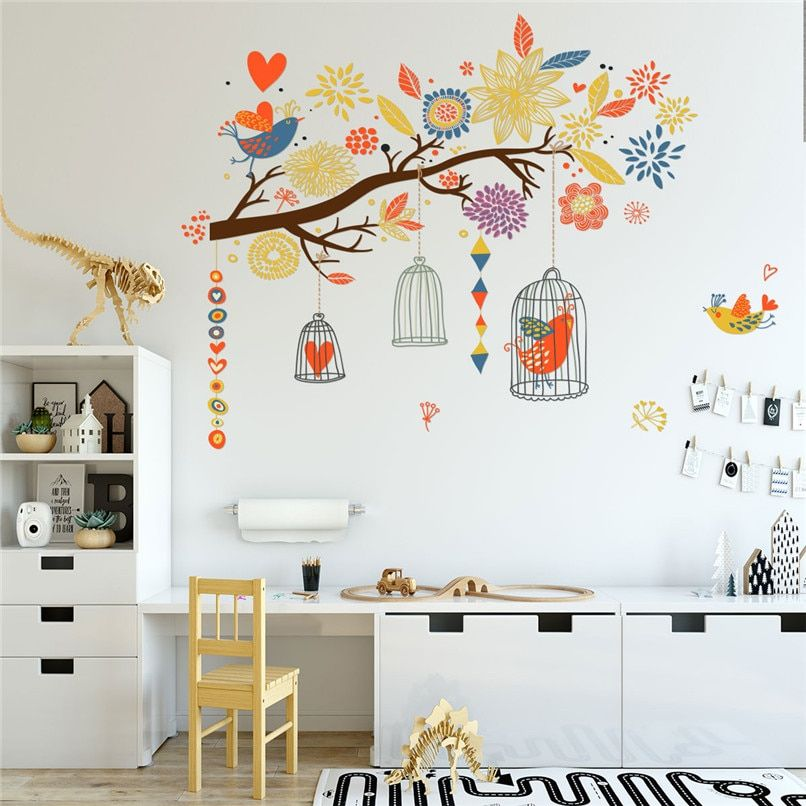 Wall Stickers For Kids Room Decoration DIY Twig Bird Cage Wall Sticker Bedroom Decoration Stickers Muraux