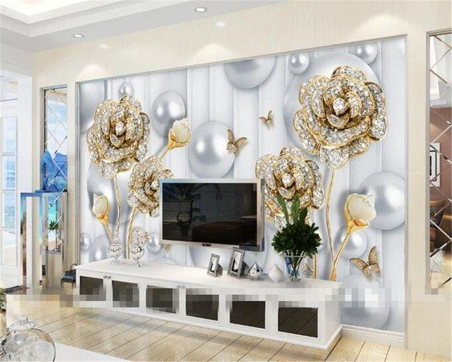 Papel De Parede 3D Wallpaper Dekorasi Rumah Lukisan Dinding Ruang Tamu Kamar Latar Belakang TV 3D