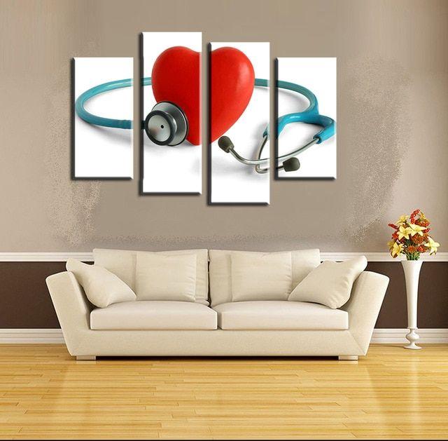 4 Pcs Stetoskop Red Heart Wall Art Gambar Dekorasi Rumah Modern Ruang Tamu Atau Kamar Tidur