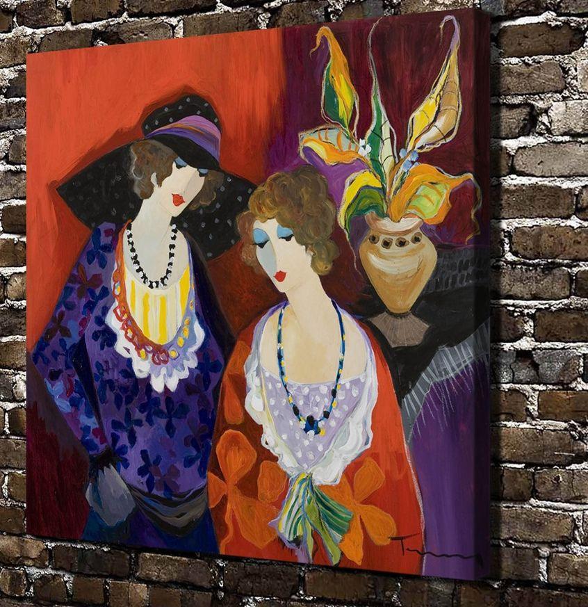Deko Rumah Ruang Tamu Menarik ①c88 Itzchak Tarkay Jane Dan Marina Wanita Gambar Hd Kanvas Cetak