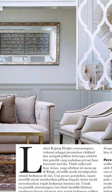 Halaman Sebelah Motif arabesque menghias pintu gelangsar yang membezakan fungsi ruang bacaan dengan ruang makan Tekstur dan paten menjadi pilihan untuk