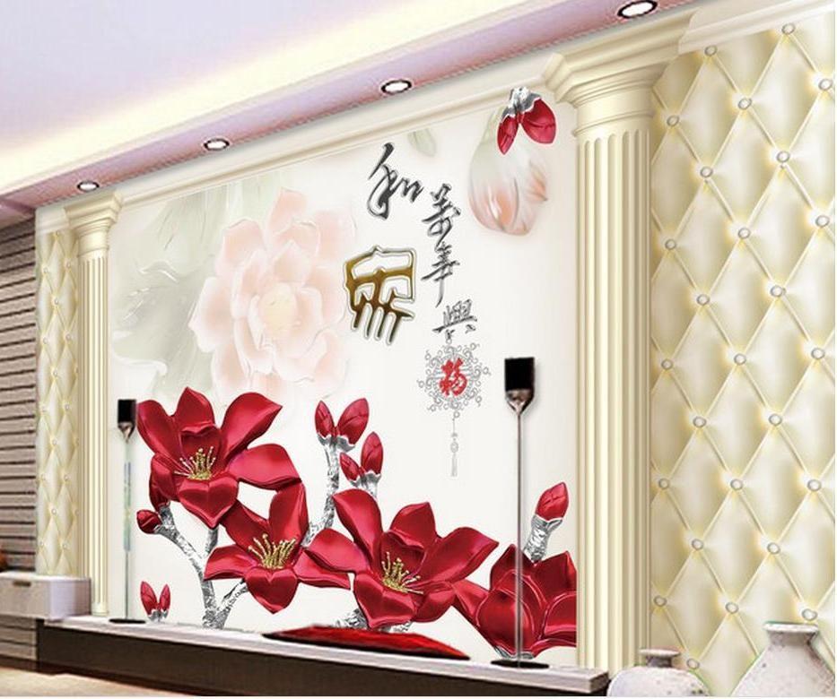 Dekorasi wallpaper mural 3d Anggrek 3D TV Background Dekorasi Wall foto dinding mural wallpaper