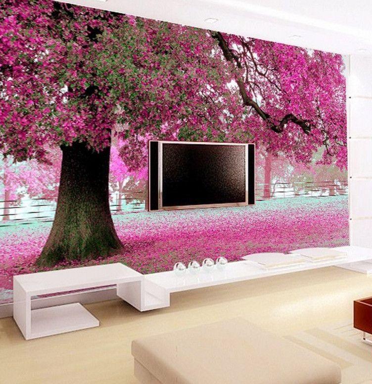Beibehang Definisi Tinggi Ungu Romantis Foto Pohon Wallpaper 3 D Kamar Sofa Ruang Tamu Dekorasi Rumah Wallpaper untuk Dinding 3 D