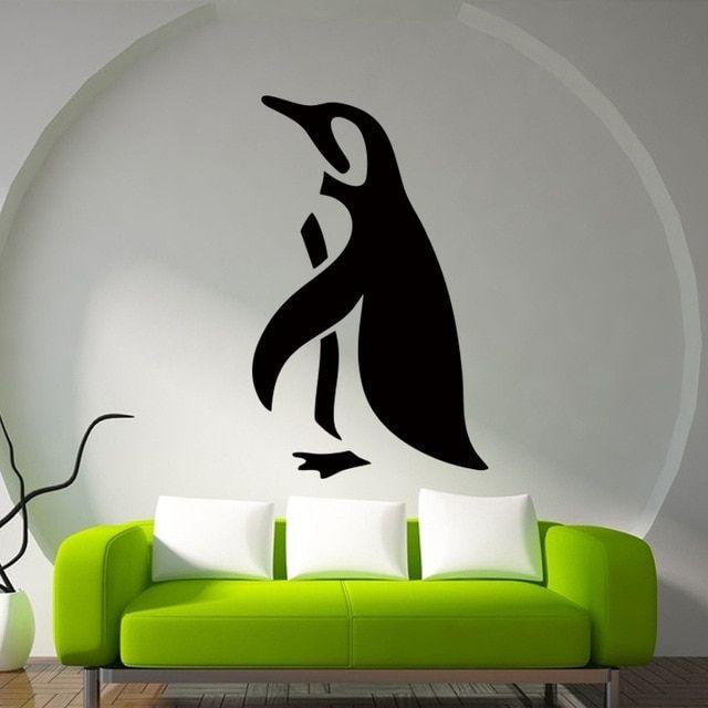 Deko Rumah Simple Baik Penguin Siluet Sederhana Di Bawah Laut Stiker Dinding Kamar Mandi