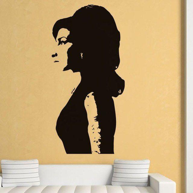 Inggris Wanita Cantik Wall Sticker Art Iconic Silhouette Dinding Mural Untuk Ruang Tamu Rumah Dekorasi PVC