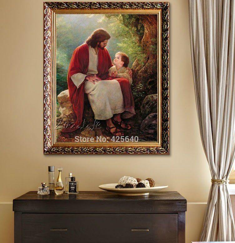Yesus Kristus Cetak Lukisan Di Atas Kanvas Dekorasi Rumah Katolik Cuadros Dekorasi Dinding Seni Gambar untuk Ruang Tamu Poster dan Cetak