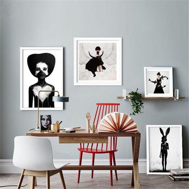 M80 hitam putih Potret lukisan poster dekoratif modern dibingkai lukisan dinding untuk dekorasi kamar tidur