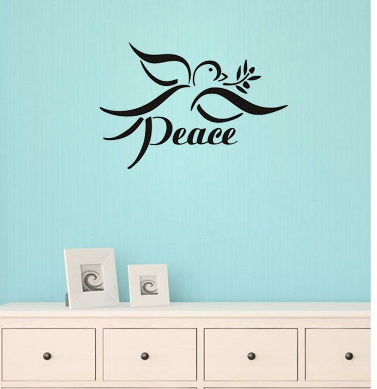 Dove Perdamaian Sign Vinyl Wall Sticekr Dekorasi Rumah Untuk Ruang Tamu Removable Kids Room Dinding Decals