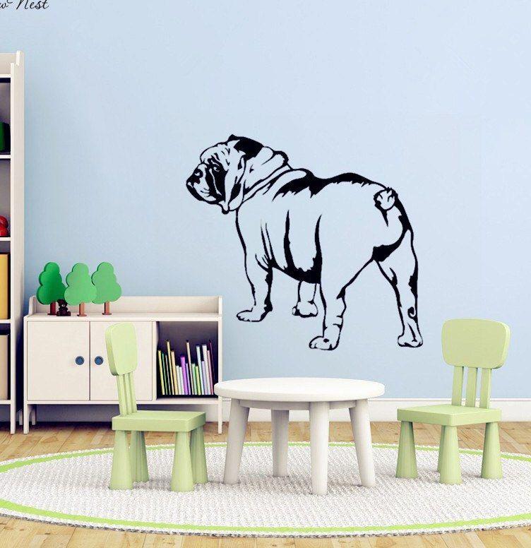 English Bulldog Dinding Decal Vinyl Stiker Dekorasi Rumah Bulldog Decals Seni Mural ruang Tamu kamar tidur dapur Dinding Dekorasi DIY