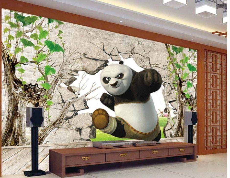 Dekorasi 3D Kung Fu Panda 3d foto mural wallpaper untuk ruang tamu dinding mural wallpaper