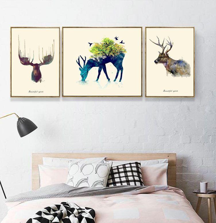 Modern 3 Pieces Sepatu Dibingkai Lukisan Dinding Dekorasi Rumah Untuk Tamu Sofa Latar Belakang lukisan kanvas lukisan rusa