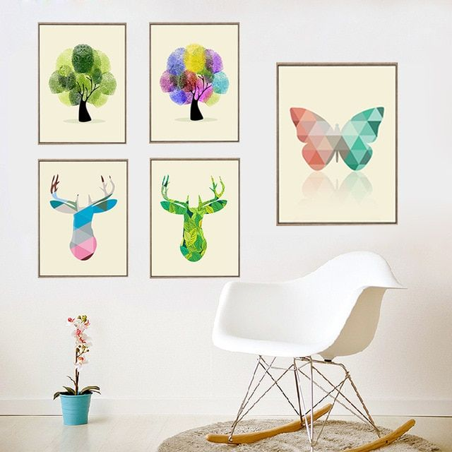 Gy92abstract geometris pohon kupu kupu deer minyak lukisan simple kanvas cetakan dinding poster frameless gambar