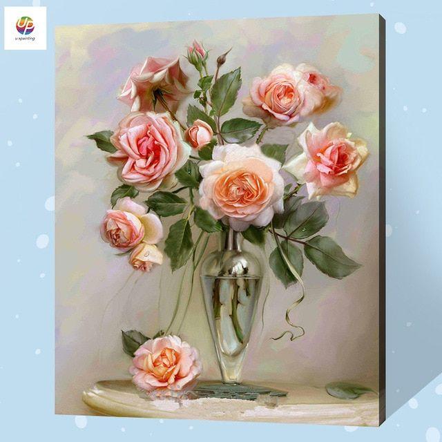 Deko Taman Rumah Penting Frameless Lukisan Digital Dengan Nomor Rose Vas Bunga Burung Cat
