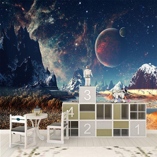 3D Kustom Kanvas Dinding Dekorasi Dunia Fantasi Poster Ruang Bersalju Bulan Stiker Dinding Mural Langit Berbintang