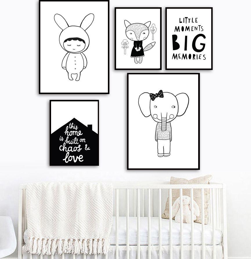 Kelinci Gajah Fox Kutipan Dinding Seni Lukisan Kanvas Nordic Poster dan Cetakan Hitam Putih Dinding Gambar untuk Anak anak Kamar Rumah dekorasi