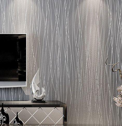 Dekorasi Dinding Ruang Tamu Penting ᗚstriped Wallpaper Glitter Padat Kertas Dinding Non Woven Kamar