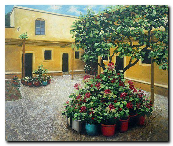 Tangan Dicat Impresionis Lanskap Lukisan Minyak Penuh Bunga Halaman Rumah Dekorasi Dinding Seni Gratis Pengiriman