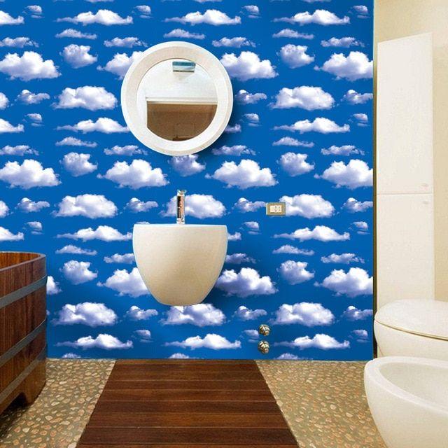 Dekorasi Kamar Penting 3d Langit Biru Awan Putih Dinding Kertas Stiker Kamar Diy Dekorasi