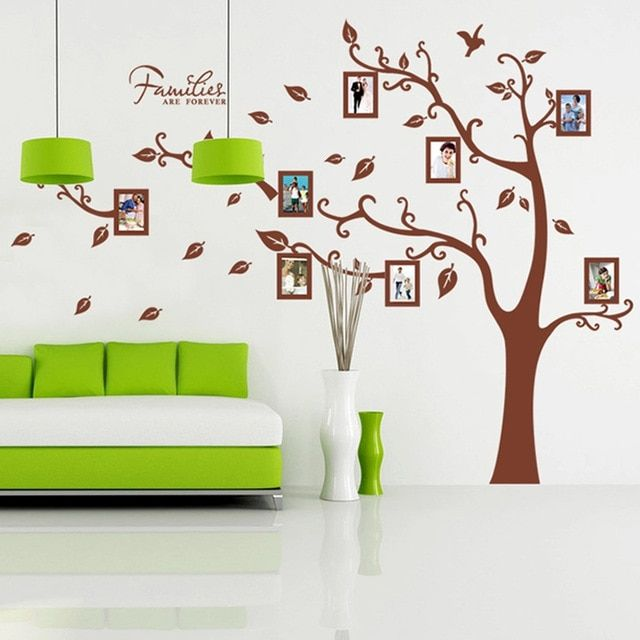 Kreatif foto keluarga brown pohon stiker dinding untuk ruang tamu kamar tidur dinding seni dekorasi mural