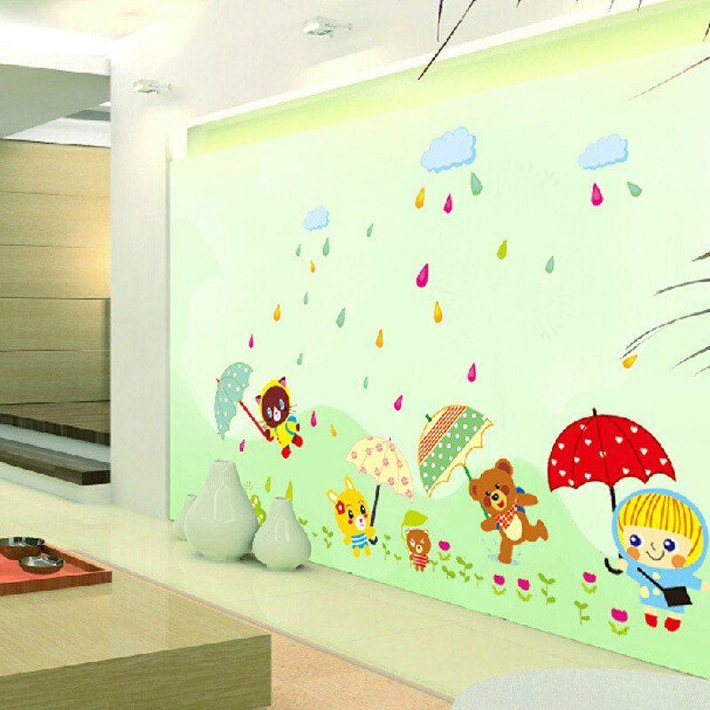 Menyenangkan dalam hujan warna warni stiker dinding hewan terus payung dinding dekorasi untuk kamar anak anak Hiasan dinding Kertas dinding